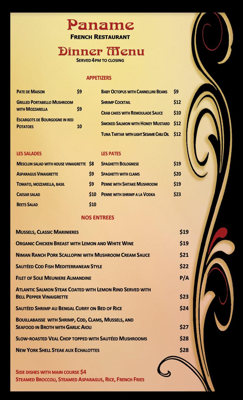 paname-dinner-menu